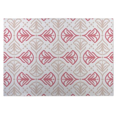 Kissing Tulips Pink/Beige Indoor/Outdoor Doormat Rug Size: 5 x 7