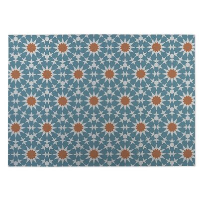 Blue/Orange Indoor/Outdoor Doormat Rug Size: Square 8