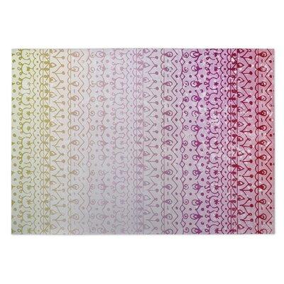 Backyard Lights Pink/Green Indoor/Outdoor Doormat Rug Size: 4 x 5