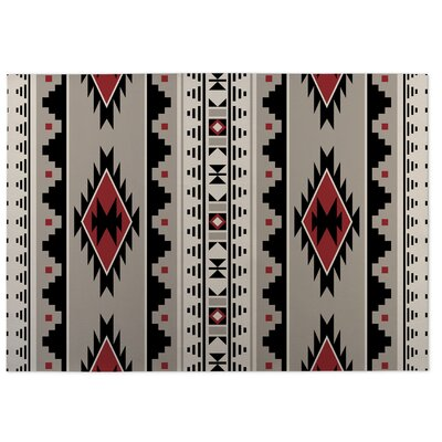 Gray/Red Indoor/Outdoor Doormat Rug Size: 5 x 7