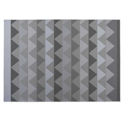 White Caps Gray Indoor/Outdoor Doormat Rug Size: 4 x 5
