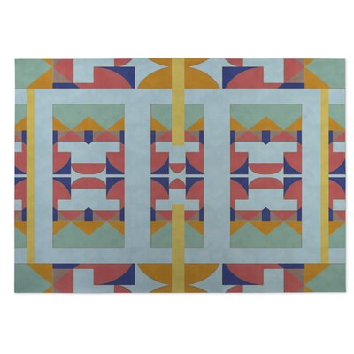 Green/Yellow Indoor/Outdoor Doormat Rug Size: Square 8