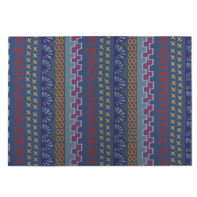 Village Road Blue Indoor/Outdoor Doormat Rug Size: 5 x 7