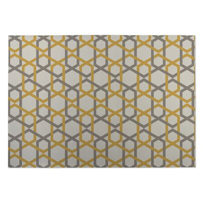 Gray/Yellow Indoor/Outdoor Doormat Rug Size: 4 x 5