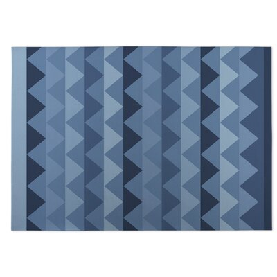 White Caps Blue Indoor/Outdoor Doormat Rug Size: 5 x 7