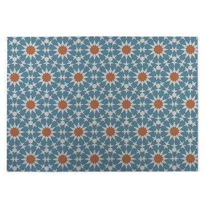 Blue/Orange Indoor/Outdoor Doormat Rug Size: 8 x 10