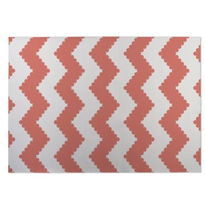 Play Chevron Indoor/Outdoor Doormat Color: Coral