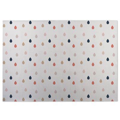 Dew Drops White Indoor/Outdoor Doormat Rug Size: Square 8