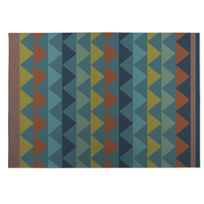 White Caps Orange/BlueYellow Indoor/Outdoor Doormat Rug Size: 5 x 7