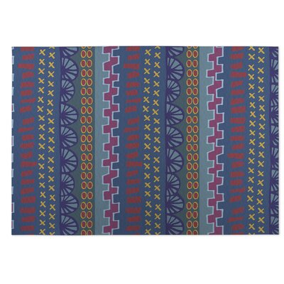 Village Road Blue Indoor/Outdoor Doormat Rug Size: 4 x 5