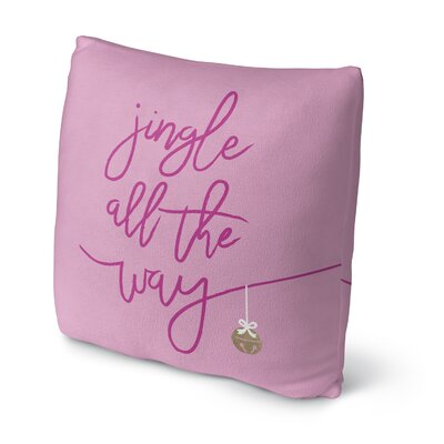 Jingle Fleece Throw Pillow Size: 18 H x 18 W x 4 D, Color: Pink