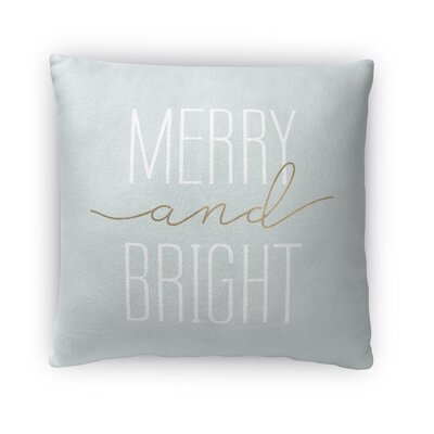 Merry and Bright Fleece Throw Pillow Size: 18 H x 18 W x 4 D, Color: Light Blue