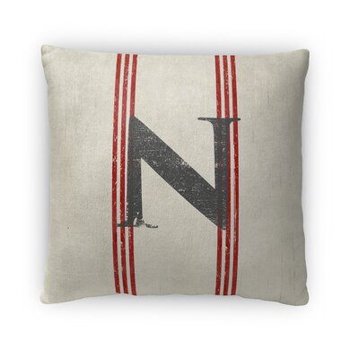 Fleece Throw Pillow Size: 16 H x 16 W x 4 D, Letter: N
