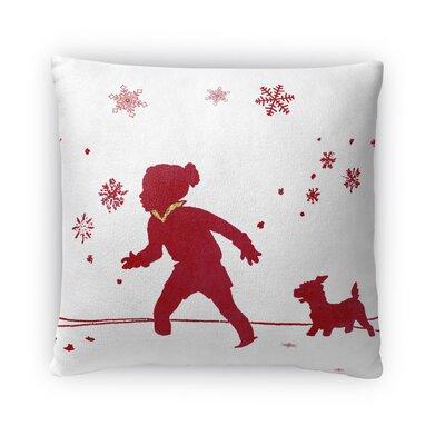 A Walk In the Snow Fleece Throw Pillow Size: 16 H x 16 W x 4 D