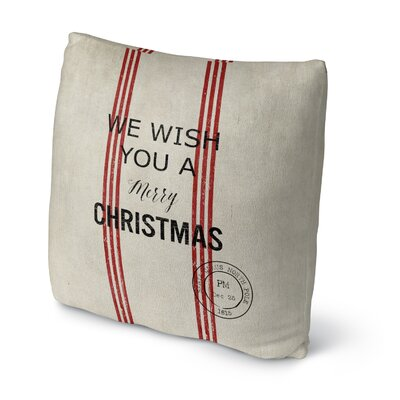 Wish You a Merry Christmas Throw Pillow Size: 16 H x 16 W x 4 D