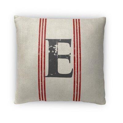 Fleece Throw Pillow Size: 16 H x 16 W x 4 D, Letter: E