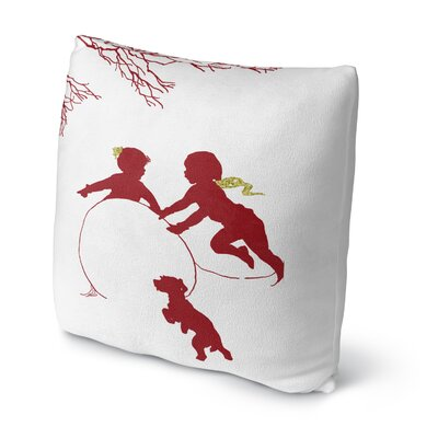 Winter Play Throw Pillow Size: 16 H x 16 W x 4 D