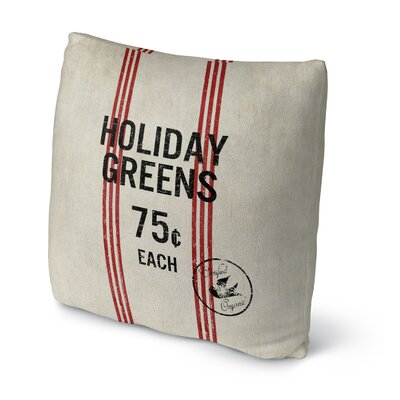 Holiday Greens Throw Pillow Size: 16