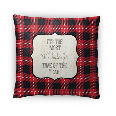 The Most Wonderful Time Fleece Throw Pillow Size: 18 H x 18 W x 4 D