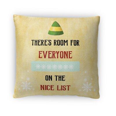 The Nice List Fleece Throw Pillow Size: 18 H x 18 W x 4 D