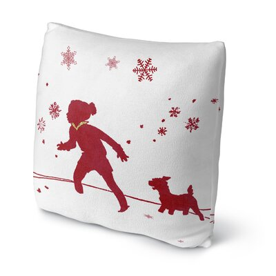 A Walk In the Snow Throw Pillow Size: 16 H x 16 W x 4 D