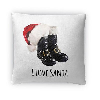 I Love Santa Fleece Throw Pillow Size: 18