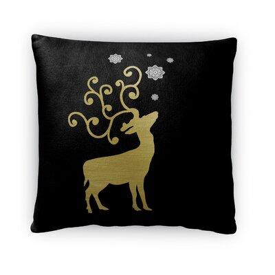 Night Sky Deer Fleece Throw Pillow Size: 16 H x 16 W x 4 D