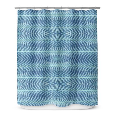 Palms Shower Curtain Color: Blue