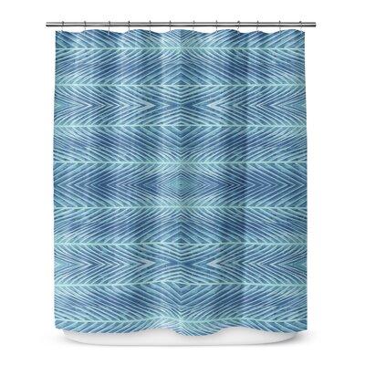 Palms Shower Curtain Color: Blue