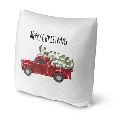 Christmas Truck Throw Pillow Size: 16 H x 16 W x 4 D