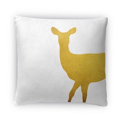 Gold Deer Fleece Throw Pillow Size: 18 H x 18 W x 4 D