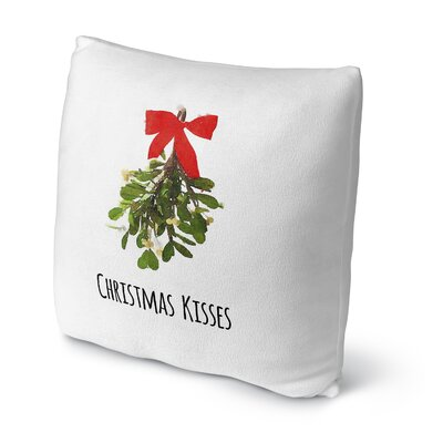 Christmas Kisses Throw Pillow Size: 18 H x 18 W x 4 D