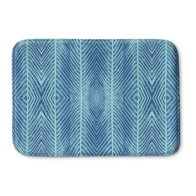Palms Memory Foam Bath Rug Size: 17 H x 24 W x 0.75 D, Color: Blue