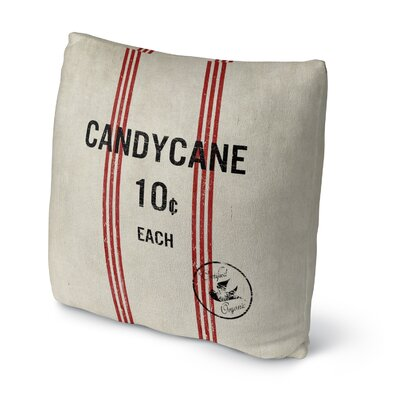 Candycane Throw Pillow Size: 18