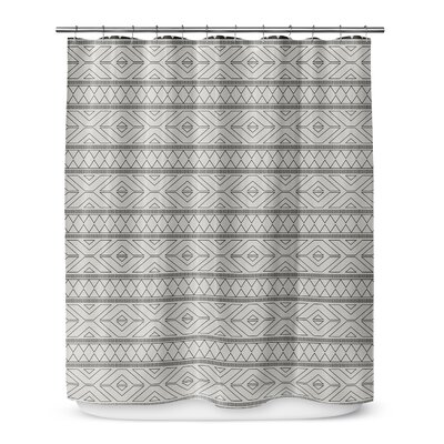 Barbosa Cotton Blend Shower Curtain Color: Black/ Ivory, Size: 90 H x 70 W