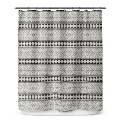 Barbosa Cotton Blend Shower Curtain Color: Black/ Grey, Size: 72 H x 70 W