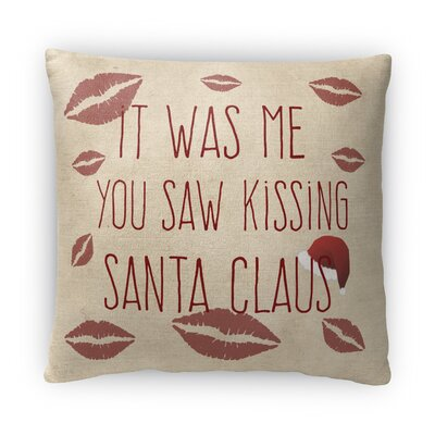 Kissing Santa Fleece Throw Pillow