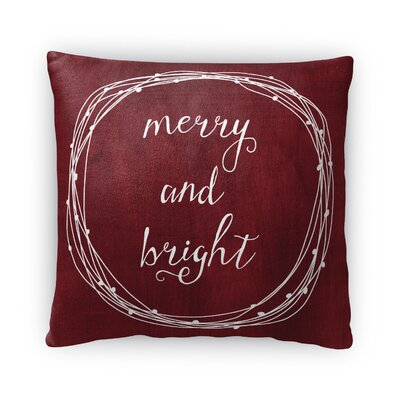 Merry and Bright Fleece Throw Pillow Color: Red