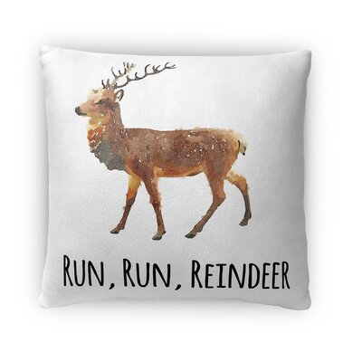 Run Run Reindeer Fleece Throw Pillow