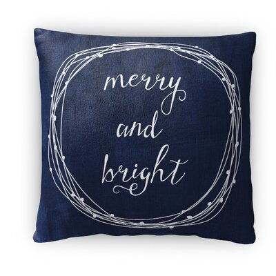 Merry and Bright Fleece Throw Pillow Color: Navy