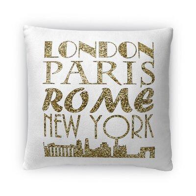 London, Paris, Rome, New York Fleece Throw Pillow Size: 16 H x 16 W x 4 D