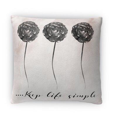 Keep Life Simple Fleece Throw Pillow Size: 16 H X 16 W X 4 D