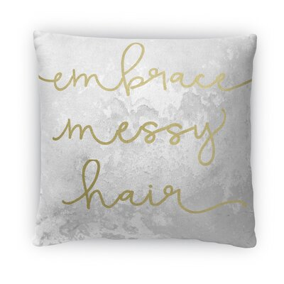 Embrace Messy Hair Fleece Throw Pillow Size: 18