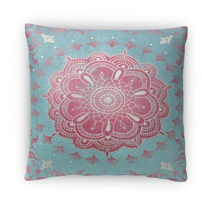 Boho Bloom Fleece Throw Pillow Size: 16 H x 16 W x 4 D, Color: Turquoise