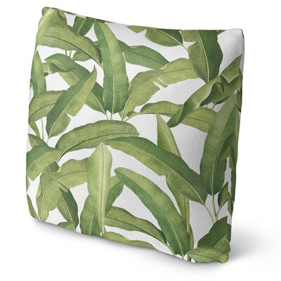 Banana Leaves Fleece Throw Pillow Size: 16 H x 16 W x 4 D