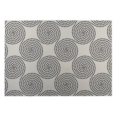 Ivory/Black Indoor/Outdoor Doormat Rug Size: Square 8