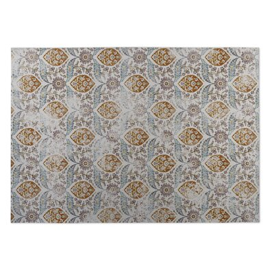 Ivory/Rust Indoor/Outdoor Doormat Rug Size: 5 x 7