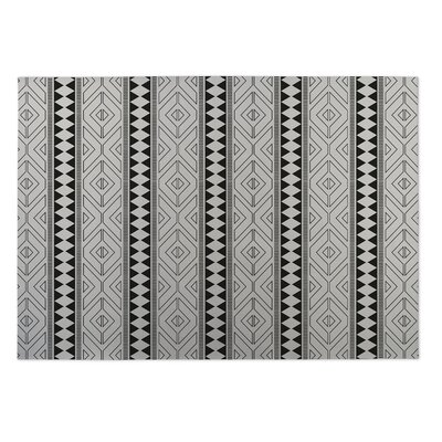 Ivory/Black Indoor/Outdoor Doormat Rug Size: Rectangle 2 x 3