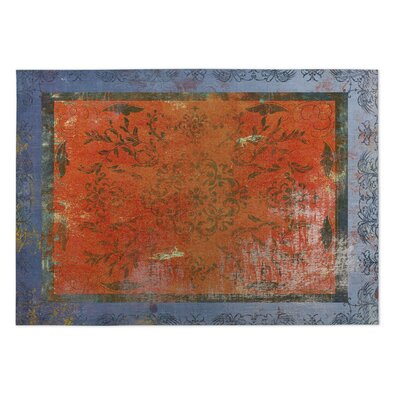 Adorned Rust/Blue Indoor/Outdoor Doormat Rug Size: Rectangle 4' x 5'