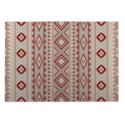 Gray/Red Indoor/Outdoor Doormat Rug Size: 2 x 3